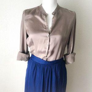 H&M Taupe 100% Silk Satin Button Down Blouse Sz 10